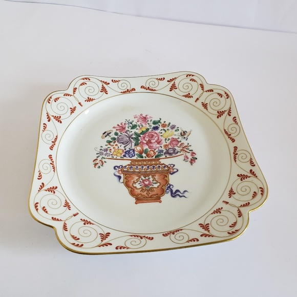 """Mottahedeh Other - Mottahedeh 8"""" square plate flower bouquet rare"""